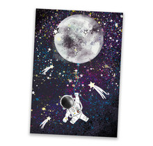 A3 poster van een astronaut aan een maanballon
