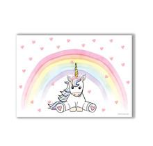 A4 poster met een lieve eenhoorn met een regenboog
