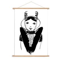 A3 poster Zeeuws meisje uit Axel in zwart wit
