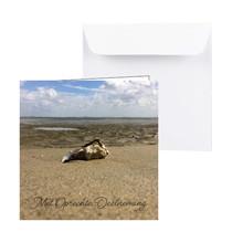 Condoleancekaart met een lege oester op het strand