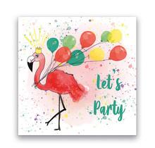 Set van 10 uitnodiging voor een kinderfeest een zomerse flamingo