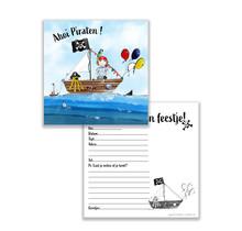 Set van 10 uitnodiging voor een stoer piraten kinderfeest