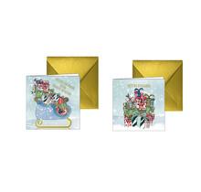 Kerstkaarten met cadeautjes en een arrenslee