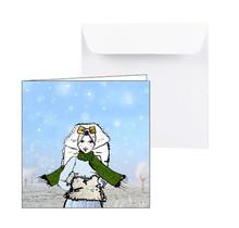 Zeeuwse wenskaart Zeeuws meisje in de sneeuw