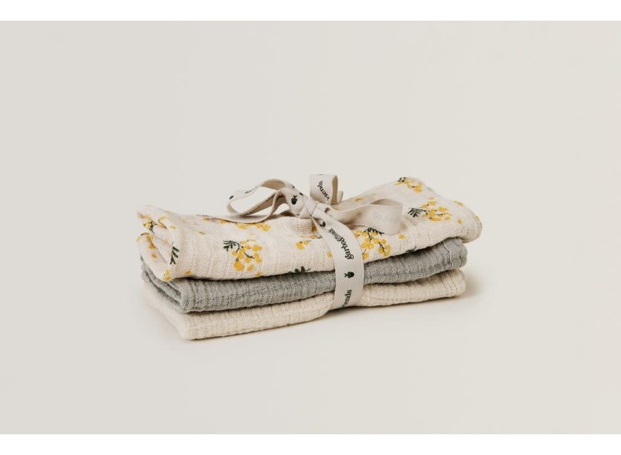 Burp Cloths Muslin Mimosa 3 Pcs