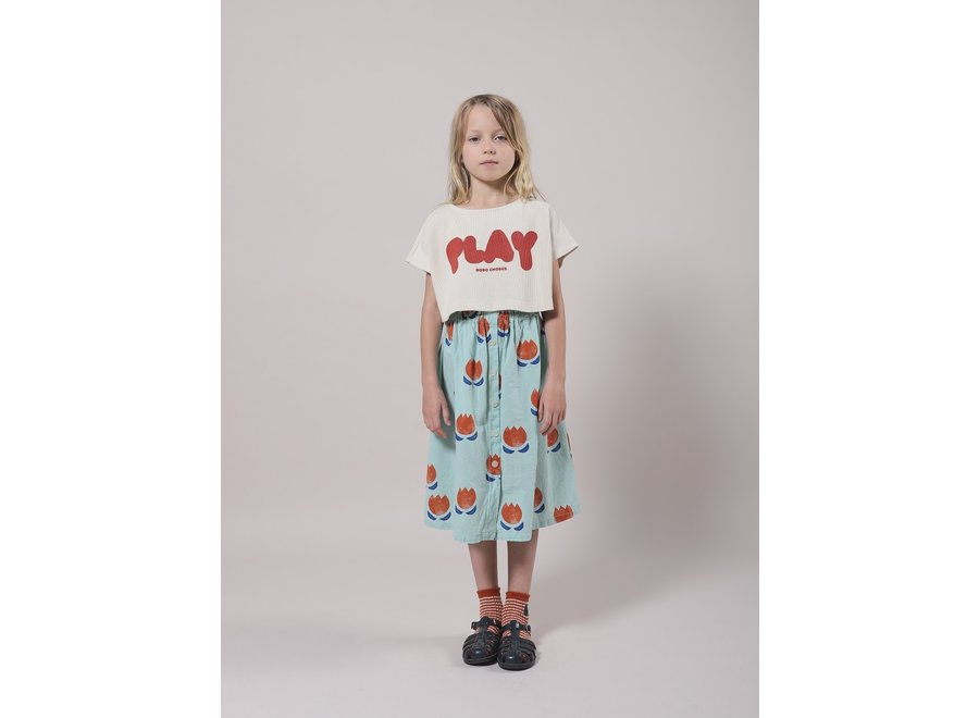 Bobo Choses Buttoned Midi Skirt Chocolate Flowers