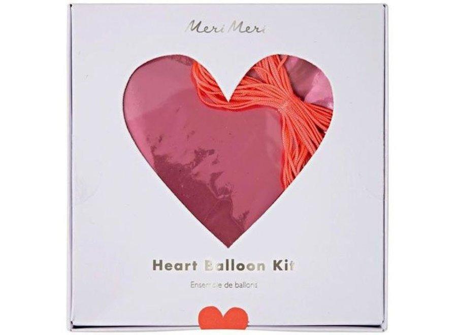 Pink Heart Foil Balloons Kit