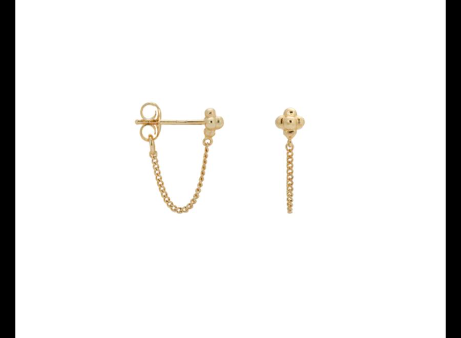 Anna+Nina Single Blossom Chain Stud Goldplated