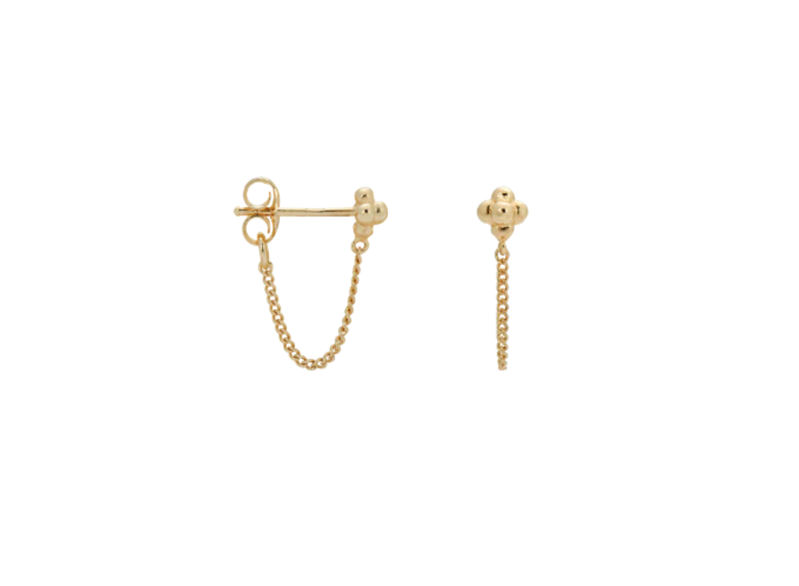 Single Blossom Chain Stud Goldplated