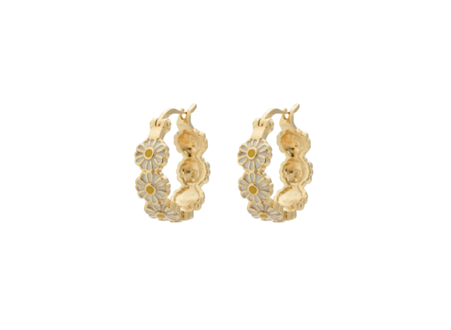 Daisy Coloured Ring Earrings Goldplated