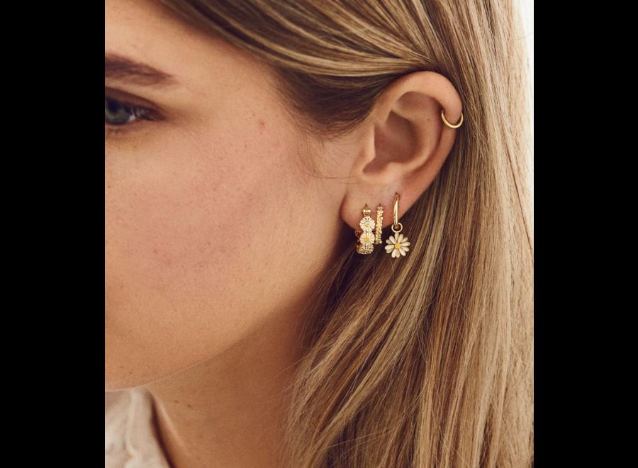 Anna+Nina Daisy Coloured Ring Earrings Goldplated