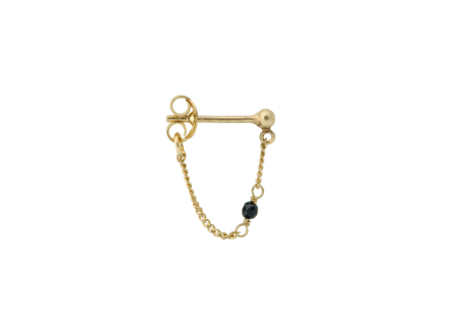 Anna+Nina Single Meteorite Chain Earring Goldplated
