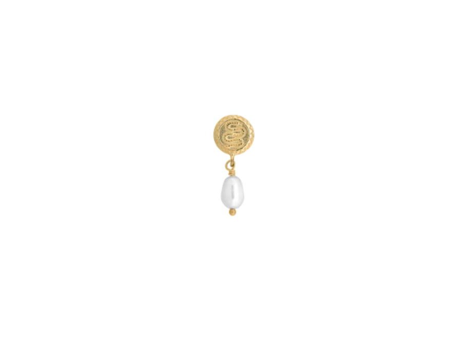 Single Pearl Serpent Earring Goldplated