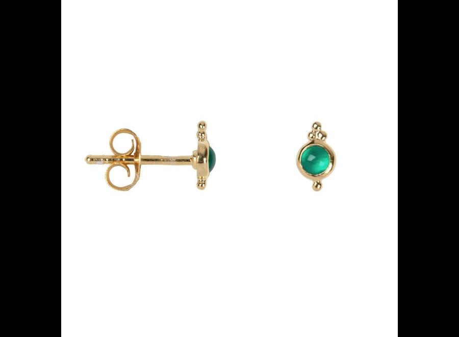 Antique Green Stone Stud Earring  P/Stuk