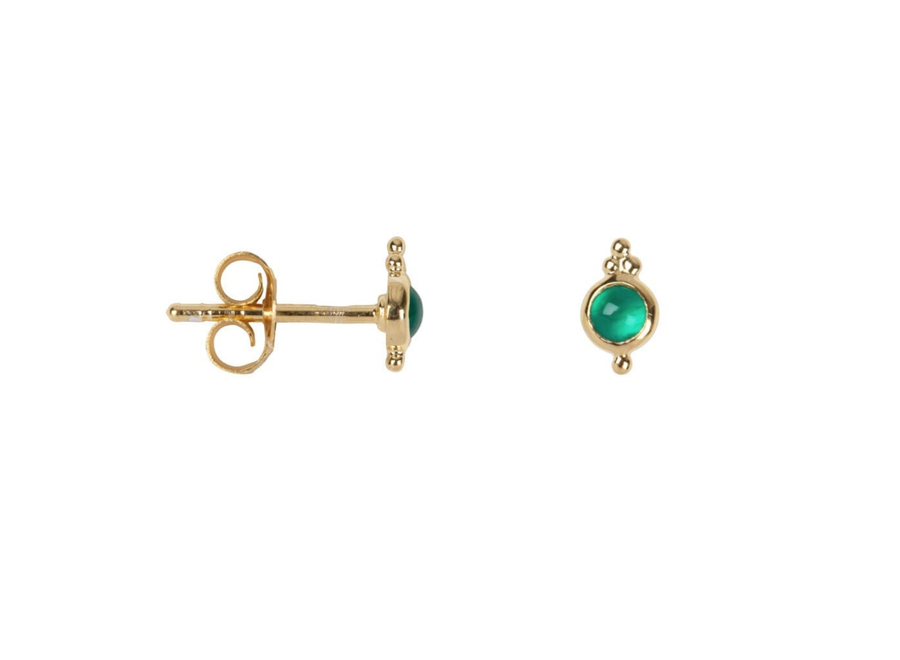 Betty Bogaers Antique Green Stone Stud Earring