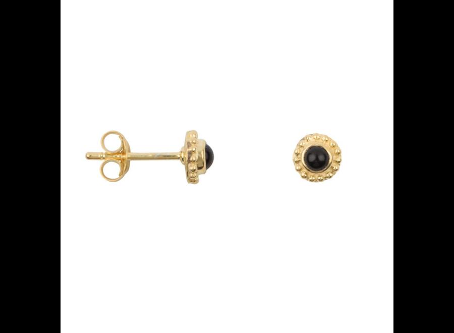 Antique Dotted Black Onyx Stud Earring  P/Stuk