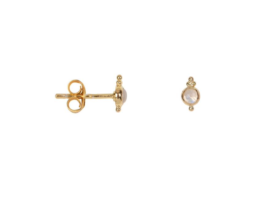 Dotted Moonstone Drop Stud Earring  P/Stuk