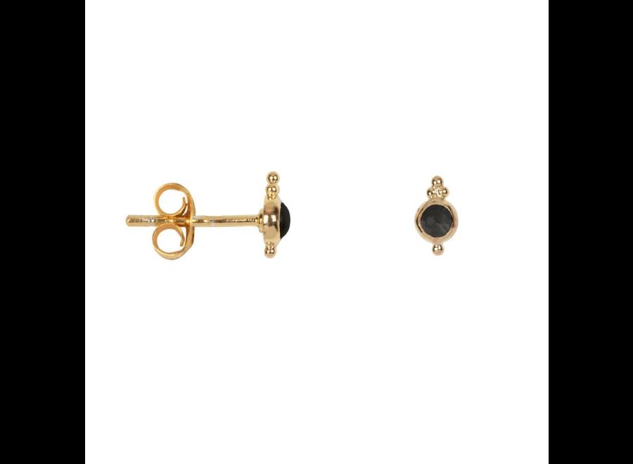 Antique Black Stone Stud Earring  P/Stuk