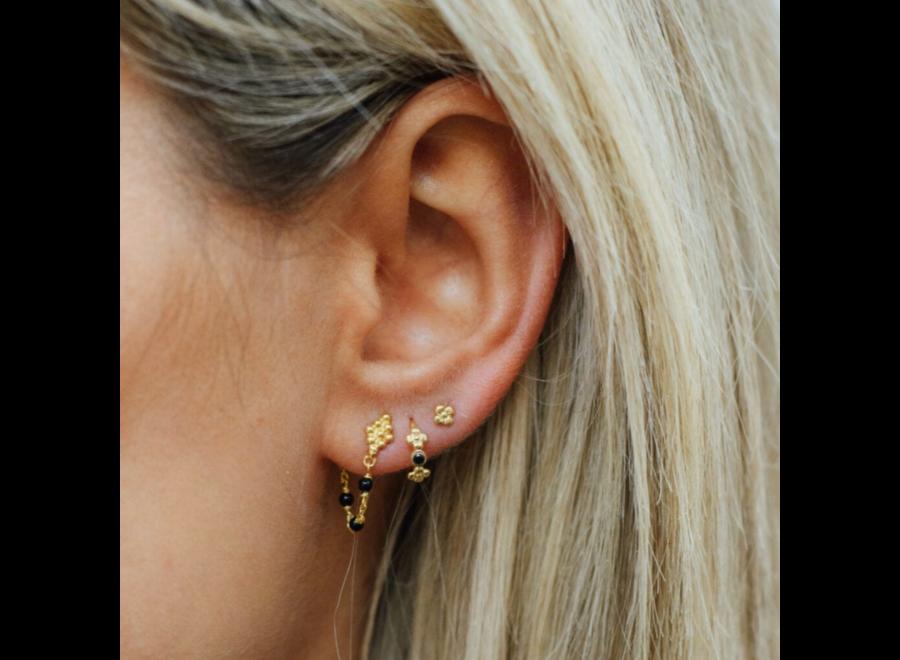Betty Bogaers Wieber Chain Black Stones Stud Earring