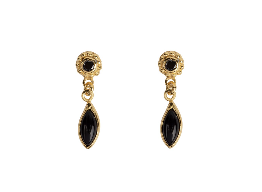 Betty Bogaers Dotted Black Onyx Drop Stud Earring