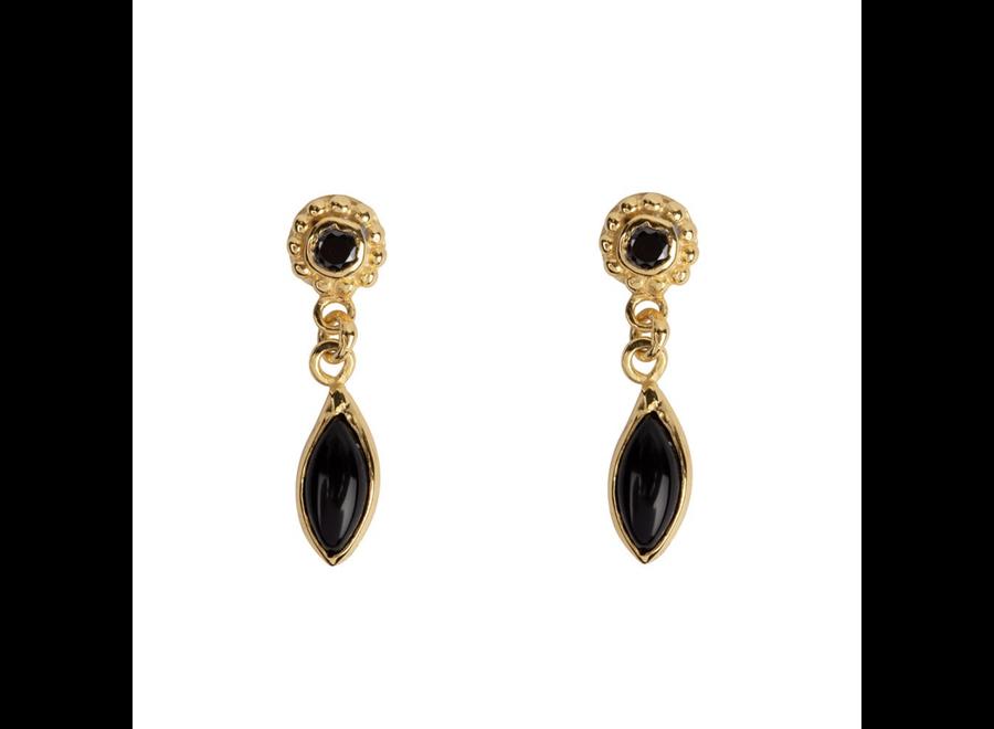 Dotted Black Onyx Drop Stud Earring  P/Stuk