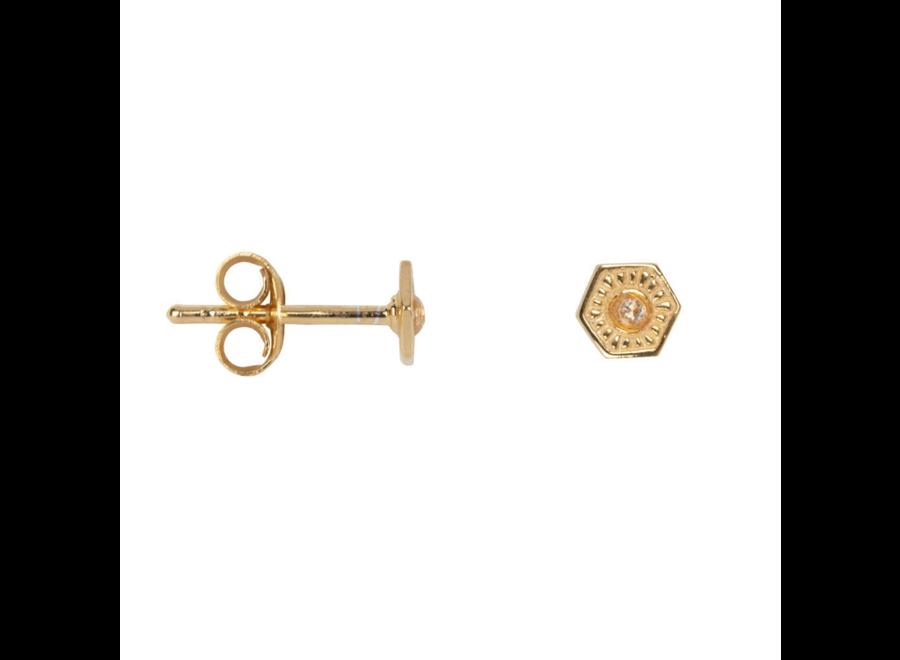 Vintage Zirkonia Coin Stud Earring P/Stuk