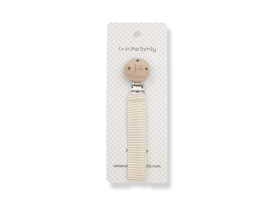 One More in the Family Ada Pacifier Clip Beige
