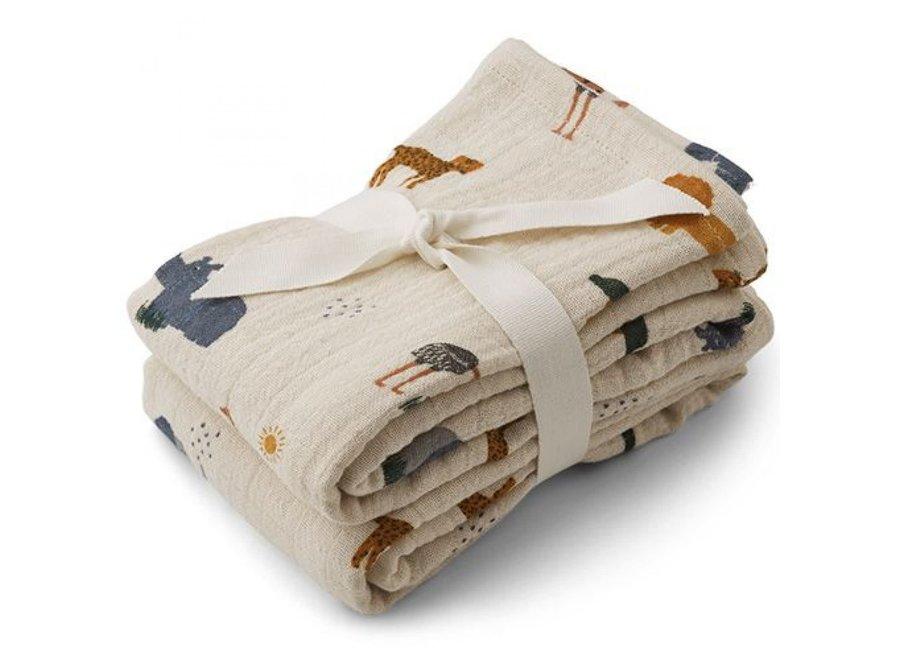 Liewood Lewis Muslin Cloth 2-Pack Classic Dot Safari Sandy Mix