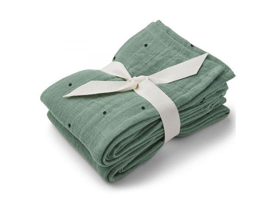 Liewood Lewis Muslin Cloth 2-Pack Classic Dot Peppermint