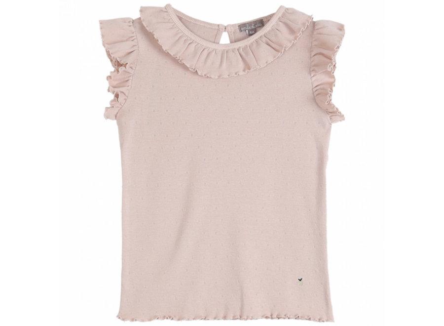 Emile et Ida T-Shirt Rose Ajoure