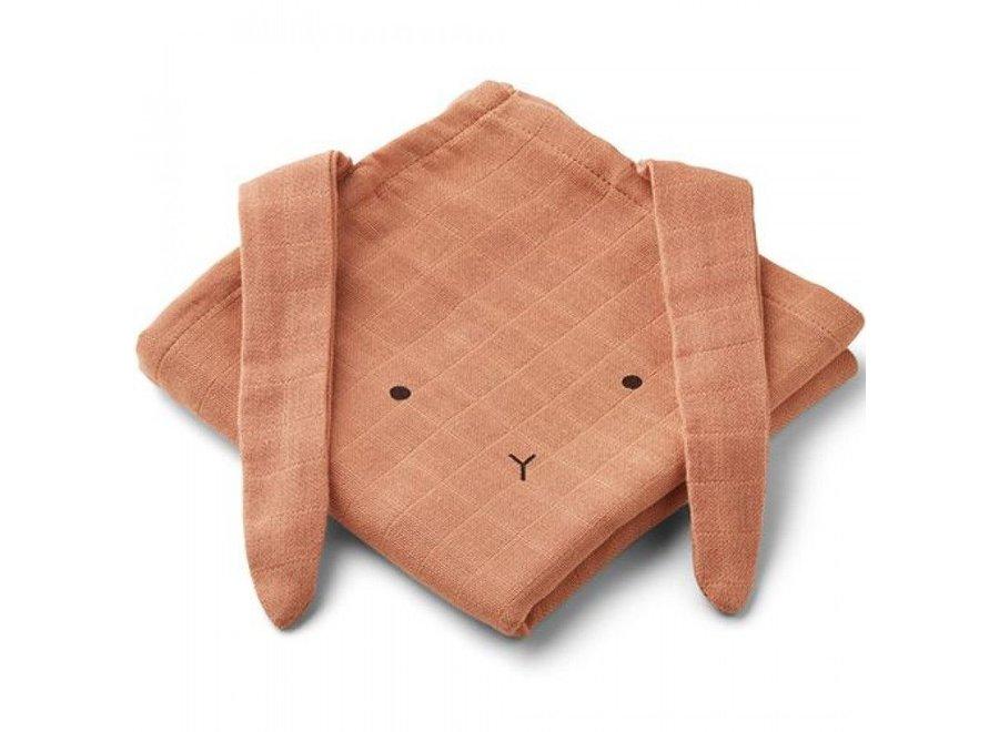 Liewood Hannah Muslin Cloth 2-Pack Rabbit Tuscany Rose