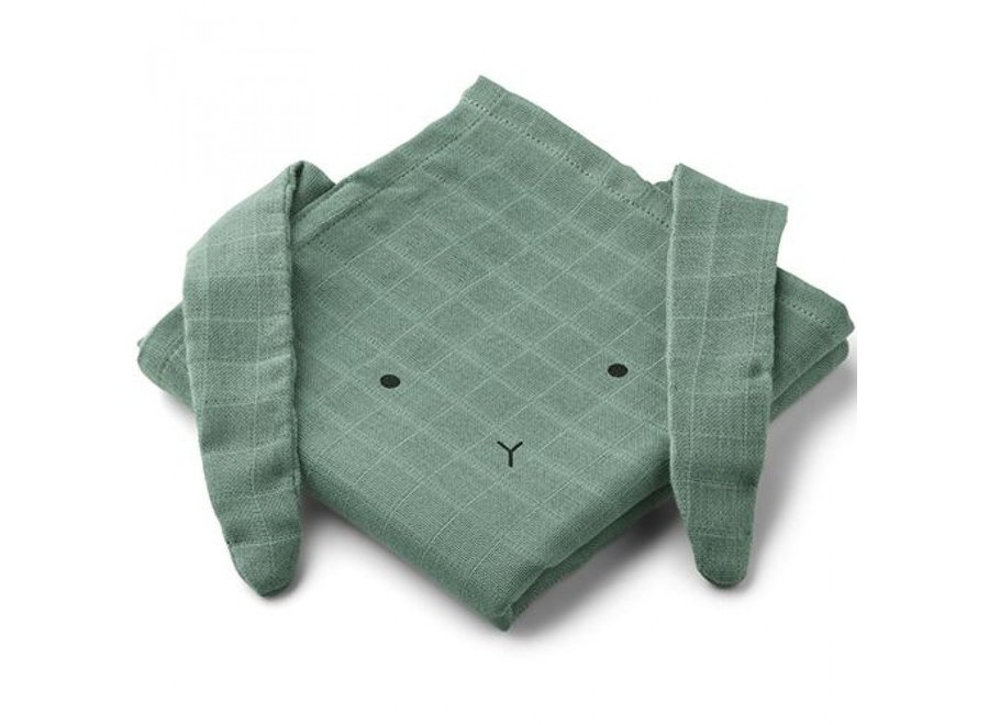 Hannah Muslin Cloth 2-Pack Rabbit Peppermint