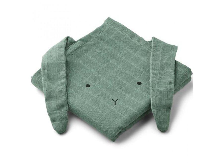 Liewood Hannah Muslin Cloth 2-Pack Rabbit Peppermint