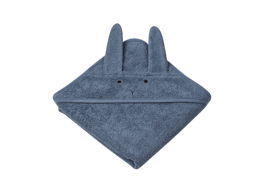 Albert Hooded Towel Rabbit Blue
