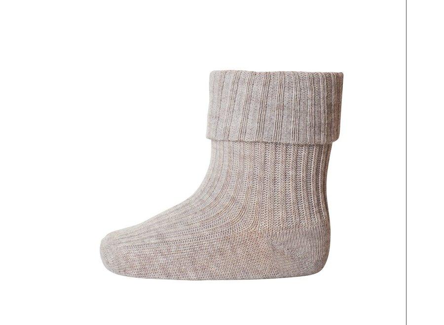 MP Denmark Rib Socks Light Brown Mel