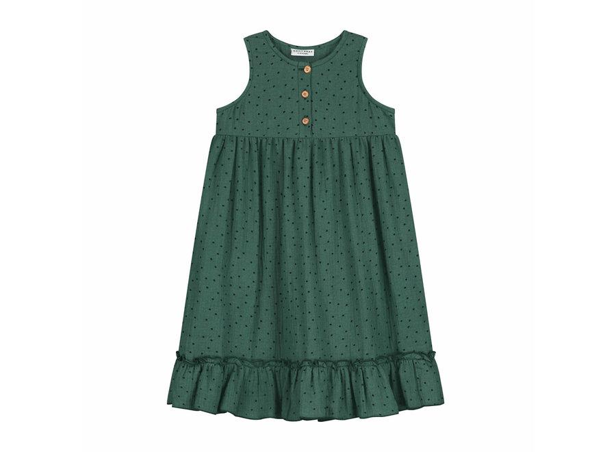 Daily Brat Moon Polka Dress Juniper Green
