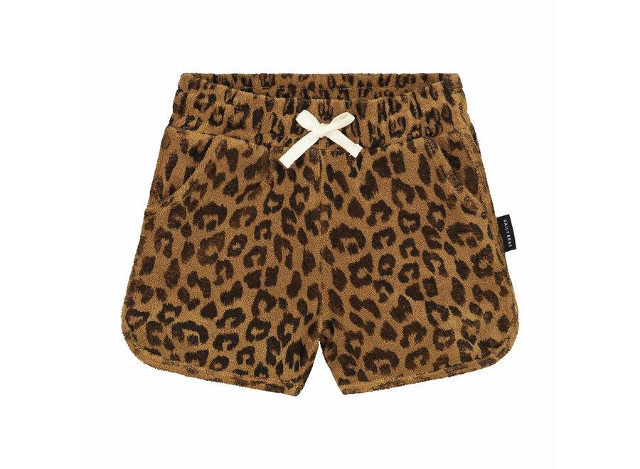 Leopard Towel Shorts Sandstone