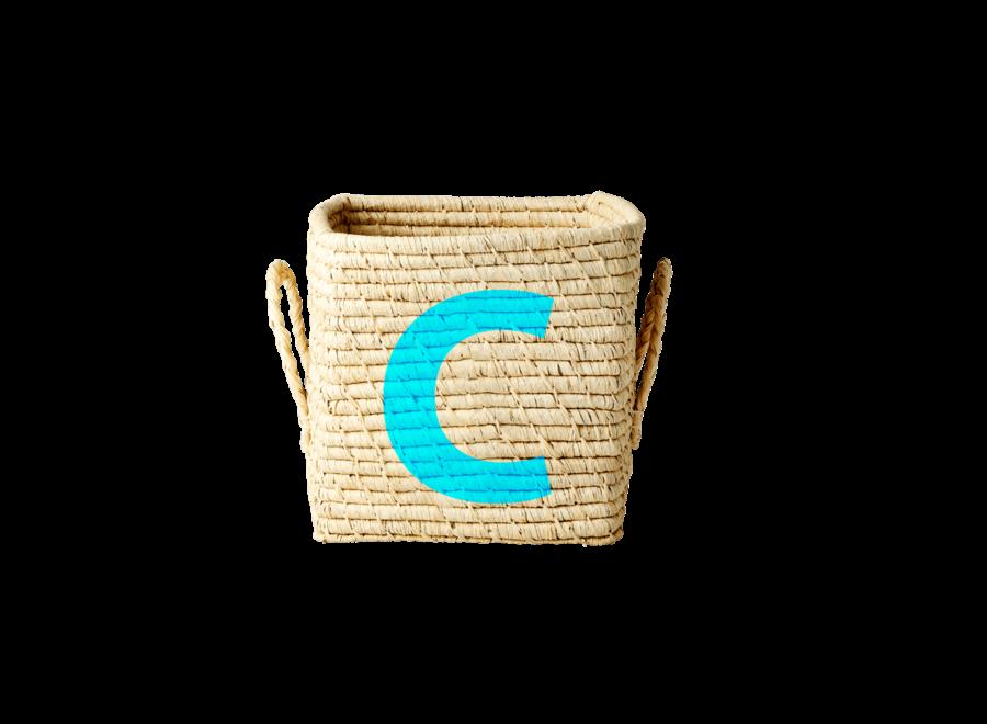 Rice Raffia Basket Letter C