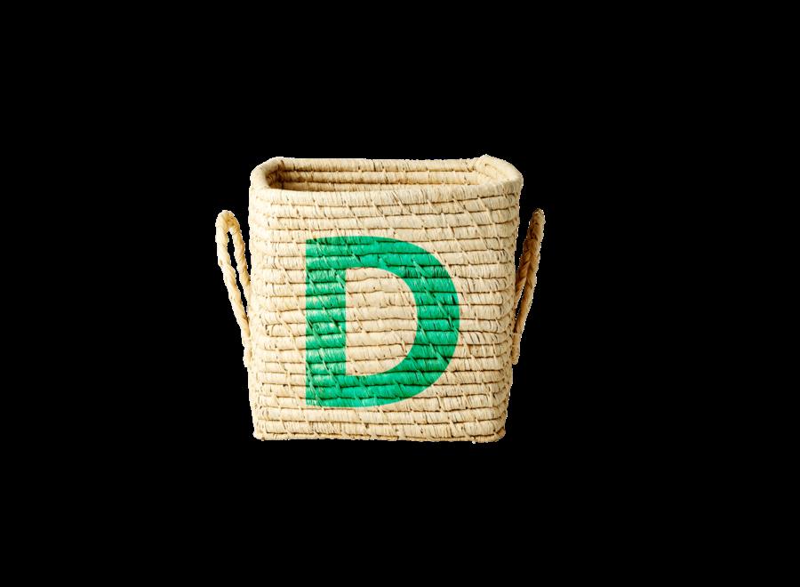 Rice Raffia Basket Letter D