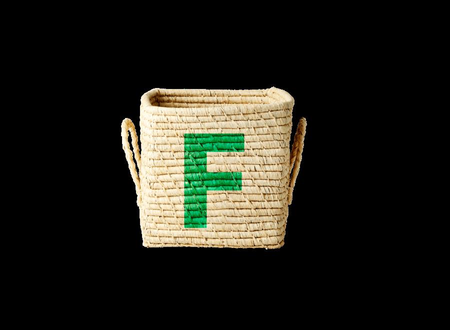 Rice Raffia Basket Letter F