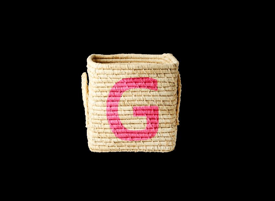 Rice Raffia Basket Letter G