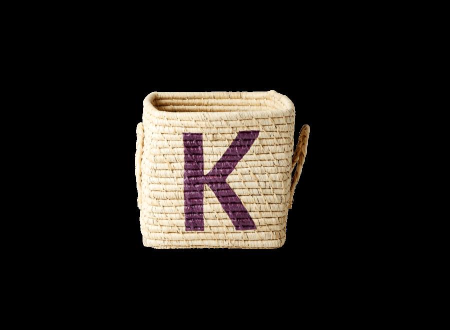 Rice Raffia Basket Letter K