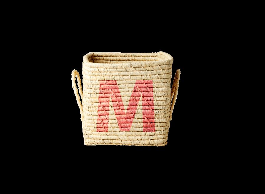 Rice Raffia Basket Letter M