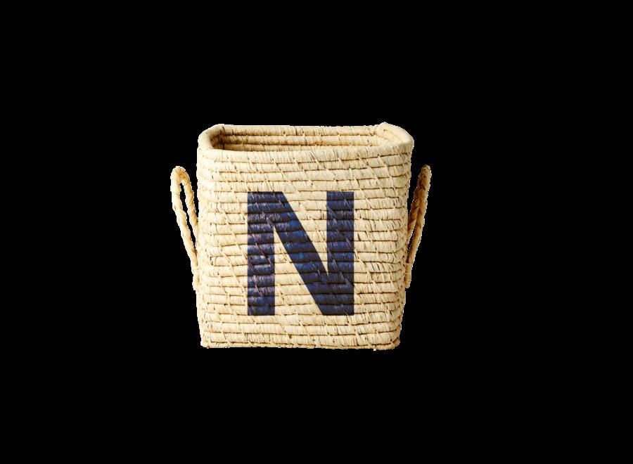 Rice Raffia Basket Letter N