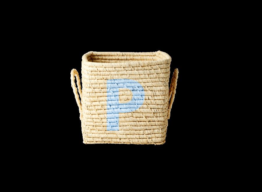 Rice Raffia Basket Letter P