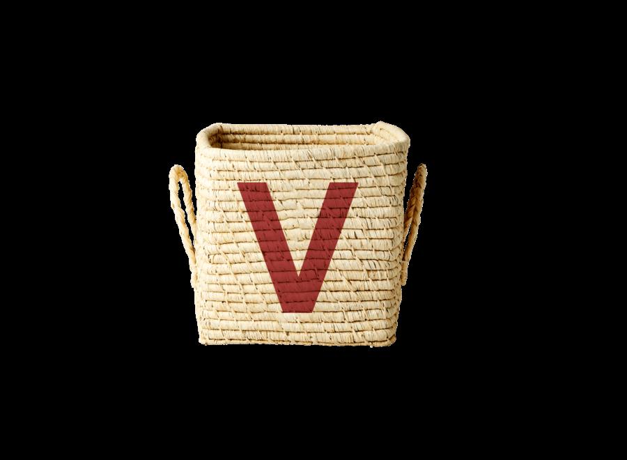 Raffia Basket Letter V