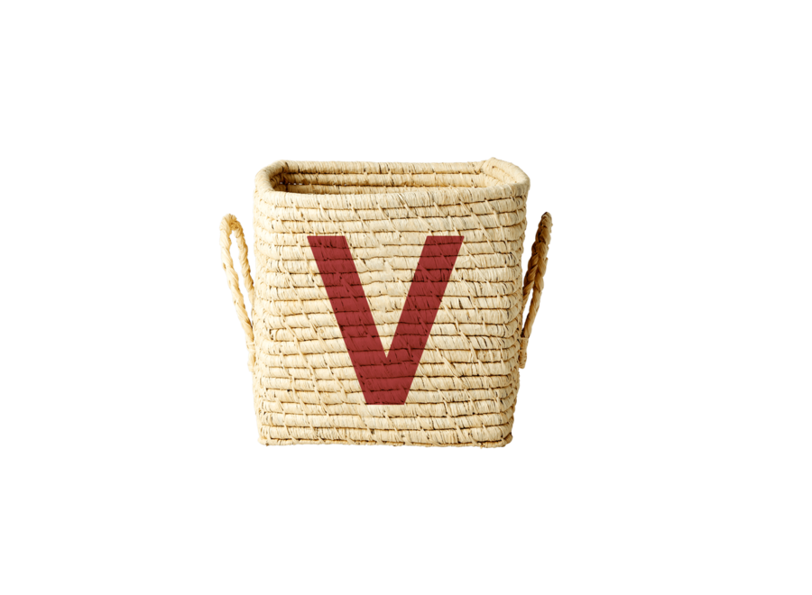 Rice Raffia Basket Letter V