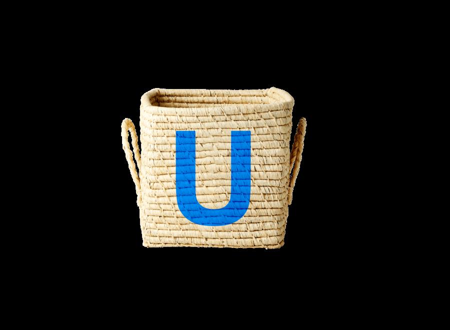 Rice Raffia Basket Letter U