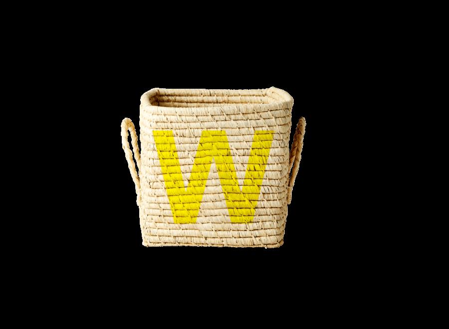 Rice Raffia Basket Letter W