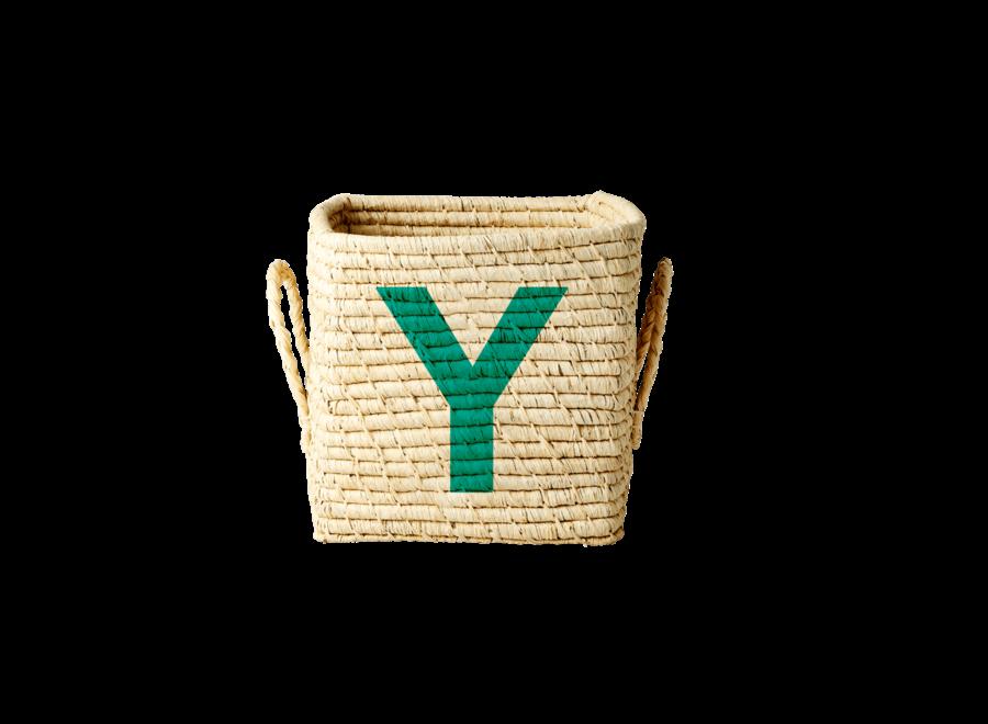 Rice Raffia Basket Letter Y